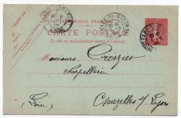 Entier Postal CP 10c Semeuse Lignée Variété Date 422 Renversée Gare De Macon Pour Chezelles-sur-Lyon 1904 - Postales Tipos Y (antes De 1995)