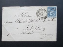 Frankreich 1878 Nr. 63 II Minibrief Von Lons - Le - Saunier Nach Port Lesney Jura. Über Mouchard - 1876-1898 Sage (Type II)