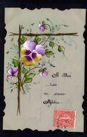 JOLIE CPA FANTAISIE CELLULOID CELLULOIDE DENTELEE Art Nouveau Art Déco Peinte à La Main Affection Fleurs - #633 - Fantaisies