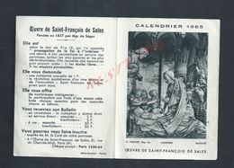 RELIGION CALENDIER DE 1965 OUEVRE DE SAINT FRANÇOIS DE SALES - Calendars