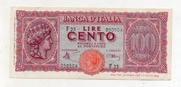 "Italia - Luogotenenza - Banconota Da Lire 100 "" Italia Turrita"" - Testina - Decreto 10.12.1944 - (FDC8580) - [ 1] …-1946 : Kingdom"