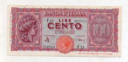 """Italia - Luogotenenza - Banconota Da Lire 100 """" Italia Turrita"""" - Testina - Decreto 10.12.1944 - (FDC8580) - 100 Lire"""