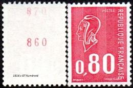 France N° 1816 C ** Marianne De Béquet - Le 80c Rouge - Taille Douce - Gomme Tropicale Numéro Rouge Au Verso - Nuevos