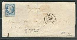 FRANCE N° 14 Laiteux ObL. S/ Lettre PC 1081 Dax - 1853-1860 Napoleone III