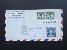 El Salvador 1947 Airmail Luftpostbrief Nach Ney York. Farmacia Y Drogueria La Cruz Roja. Luis Charlaix - El Salvador