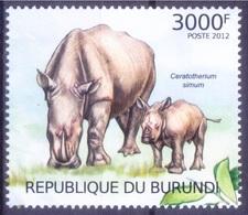 White Or Square-lipped Rhinos, Near Threatened Wild Animals, Burundi 2012 MNH - Rhinozerosse