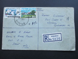 Malaysia 1966 R-Brief Malacca No 5036 Nach Katong Singapore! 5 Stempel!! - Malaysia (1964-...)