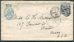 1884 GB London WC2 Duplex - Boston, USA. VR Science & Art Department - Storia Postale