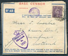 1946 GB M.E.F. FPO Censor Air Letter - Dumfies, Scotland. 33 B.S.D.  R.A.S.C. Fieldpost - 1902-1951 (Kings)