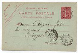 Entier Postal CP 10c Semeuse Lignée Date 416 Castillonnes (Lot-et-Garonne) Pour Chazelles-sur-Lyon 1904 - Cartes Postales Types Et TSC (avant 1995)