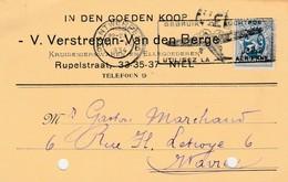 Niel , Griffe Linéaire, Cachet Antwerpen ,,carte Publicité ,V.Verstrepen-Van Den Berge - Marcophilie
