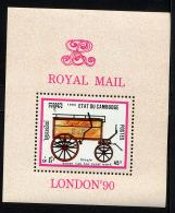 CAMBODGE 1990, LONDON 90,  VOITURE POSTALE HIPPOMOBILE, 1 Bloc, Neuf / Mint. R990 - Transport