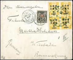 5 C. A. 5 Ca. Olivgelb, Zwei Waagr. Paare In Doppelfrankatur Mit Franz.Post China 25 C. A. Rosa Auf Brief Nach Wiesbaden - Stamps