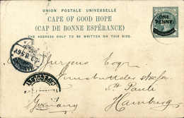 Beleg 1 P. Tadellose Privatpostkarte Mit Abb. Des Tafelbergs Von Cape Town 14/8 98 Nach Hamburg.<br/><br/><span Style='c - Stamps