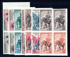 28 Versch. Farb-Probedrucke In Ungezähnten Viererblöcken, Tadellos Postfrisch. (Michel: 74/80Proben) - Stamps