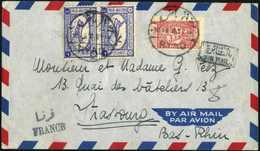 Beleg Flugpost 3 G., Senkr. Paar In Mischfrankatur Mit Zwangszuschlagsmarke 1/8 G. Auf Tadellosem, Vorgedrucktem Luftpos - Stamps
