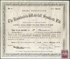 """""""The Randfontein Waterfall Syndicate Ltd."""", Gef. Original-Aktie, Re. Unten Steuermarke. - Stamps"""