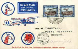 Beleg 3 P., Waagr. Paar Vom Li. Bogenrand Auf Tadellosem Illustr. Luftpostbrief Mit SST WINDHUK - KIMBERLEY 26/1 32. (Mi - Stamps