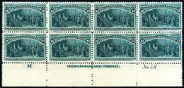 """15 C. Columbus, Postfr. Luxus-Achterblock, Unten Mit Kpl. Bogenrand Und Randinschrift """"M"""", Platten-Nr.""""No.58"""" Sowie AMER - Stamps"""