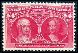 ** 4 $ Columbus, Postfr. Luxusstück In Ausgezeichneter Zähnung Und Zentrierung. Herausragendes Exemplar Dieser USA-Rarit - Stamps