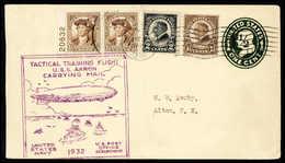 Beleg U.S.S. Akron, 1932, Übungsfahrt, Tadelloser Ganzsachenumschlag 1 C. Mit Zusatzfrankatur, Zwei Verschiedene Zeppeli - Stamps