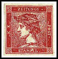 """* 1856, 6 Kr./30 C. Zinnober, """"Roter Merkur"""", Ungebrauchtes Kab.-Stück Mit Vollständigem, Frischem Und Quarzlampenreinem - Stamps"""
