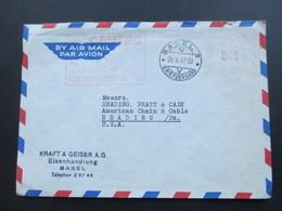 Schweiz 1948 Roter Freistempel! Werbung Centec Handschleifer. Basel Nach Reading USA - Briefe U. Dokumente