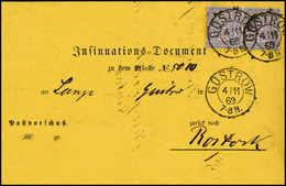 Beleg 2 Gr, Zwei Exemplare Auf Schönem Gelbem Vordruck-Postformular (Insinuationsdokument) Nach Rostock, Klare K2 GÜSTRO - Stamps