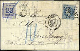 20 C. In Doppelfrankatur Mit Frankreich Napoleon 20 C. Auf Kab.-Faltbrief Von Nancy Nach Sarrebourg, Beiges. Taxstempel  - Unclassified