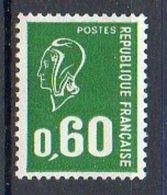 FRANCE 1974 - (**) - N° 1814a - 60 C. Vert - (Marianne De Béquet) - (Sans Bande Phosphorescente) - Nuovi