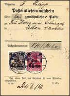 Beleg 1 C. Mit 4 C. Karmin Auf Vorgedrucktem Post-Einlieferungsschein Für Ein Paket Nach Sachsen, Zwei Klare Stempel SCH - Unclassified