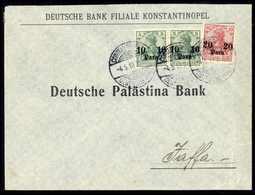 Beleg 10 P., Zwei Exemplare Mit 20 P. Auf Schönem Bank-Vordruckbrief Nach Jaffa, Klare Stempel CONSTANTINOPEL 4/5 10. (M - Unclassified