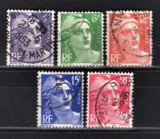 FRANCE 1951 - SERIE Y.T. N° 883 A 887  -  5 TP OBLITERES - France