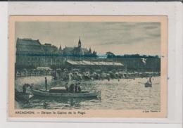 Carte Double - ARCACHON - Devant Le Casino De La Plage - En Ville L'hiver - L'été Sa Plage - L'hiver Sa Foret - Arcachon