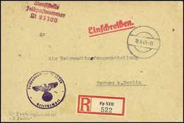 """Beleg 18.9.43, Tarnstempel Auf R-Brief, FP-Nr.M23300 (U-Boot Begleitschiff """"W.Bauer"""") Sowie R-Zettel Fp XIII (Marine-Pos - Stamps"""
