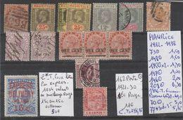 TIMBRES LOT OBLITERES DE MAURICE Nr VOIR SUR PAPIER AVEC TIMBRES COTE 138.85€ - Maurice (1968-...)