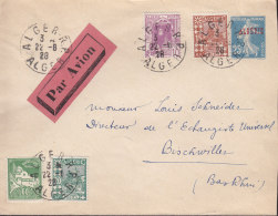 S Algerie Affranchissement Mixte Sur Entier Stationery Ganzsachen Enveloppe Semeuse Camee  25 C - Ganzsachen