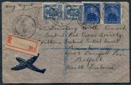 1947 Belgium Registered Airmail Cover La Louvie - Nothern Ireland Central Council, British Red Cross, Belfast - Belgium