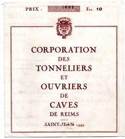 Corporation Tonneliers Caves De Reims  Programme 1949 - Programmi