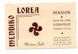 Saint Jean De Luz Carte Publicitaire Pension Joffre - Publicités