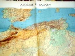 ALGERIE-CARTE GEOGRAPHIQUE-ALGERIE ET SAHARA-1961 - Geographical Maps