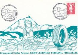 FRANCE - CP MARIANNE DE BRIAT - CACHET GROUP. CENTRE ARVERNE CLERMONT FERRAND PHILATELIE 21.6.1993 / 1 - Francia