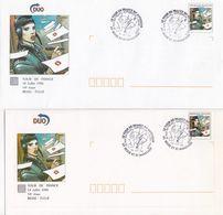 FRANCE - LOT 2 LETTRES DUO TOUR DE FRANCE 1996 ETAPE BESSE-TULLE - CACHET TOUR DE FRANCE EN AUVERGNE 14.07.96  / 1 - Frankrijk