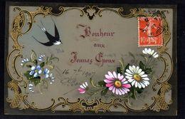 JOLIE CPA FANTAISIE CELLULOID Art Nouveau Déco Peinte à La Main Bonheur Aux Jeunes Epoux Mariage Oiseau Hirondelle-#634 - Fantaisies