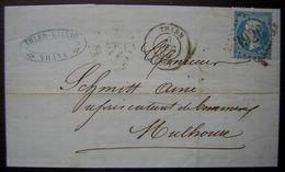 1864 Thann (Haut Rhin) Ihler Willig Fabrique De Chandelles Lettre GC 3926 Pour Mulhouse - Postmark Collection (Covers)