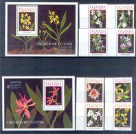 A180- Uganda 1990 EXPO Osaka Orchideen Complete Set. - Philatelic Exhibitions