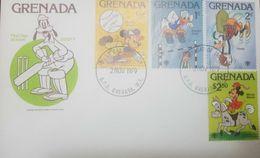 L) 1979 GRENADA, MINIE MOUSE, DONKEY, MICKEY, DONALD DUCK, DISNEY, GOOFY, BASKETBALL, BASEBALL, JUMP, DISNEY,FDC - Grenada (1974-...)