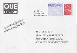 D176 - Entier / Stationery / PSE - PAP Réponse Lamouche - Que Choisir - Agrément 06P564 - Entiers Postaux