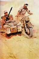 WW2  - Side-car De L'Afrika Korps En Libye En 1941 - - 1939-45
