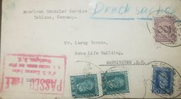 L) 1924 GERMANY, HENRICH VON STEPHAN, BLUE, 20, GREEN, GERMAN EMPIRE, PURPLE, CIRCULATED COVER FROM GERMANY TO USA, XF - Germany